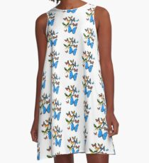 Grouping of Colorful Butterflies A-Line Dress