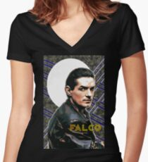 Falco Art Deco-Style Women's Fitted V-Neck T-Shirt