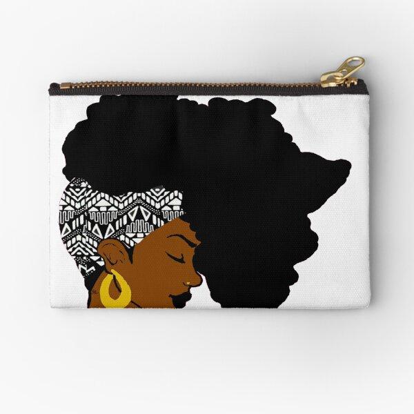 Fro African B&W Zipper Pouch