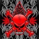 Red Fire Skull with Tribal Tattoos by BluedarkArt