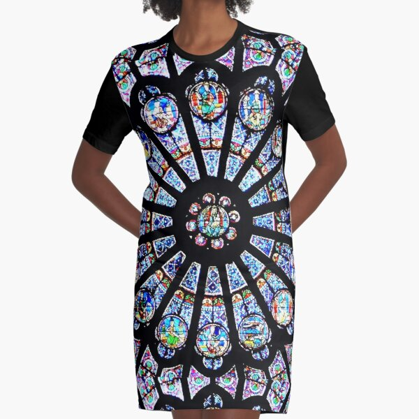 Cathedral Stained Glass Graphic T-Shirt Dress