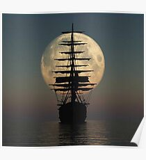 Pirate ship with full moon Poster