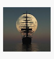 Pirate ship with full moon Photographic Print
