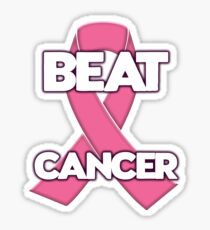 Beat Cancer! Breast Cancer Ribbon Sticker