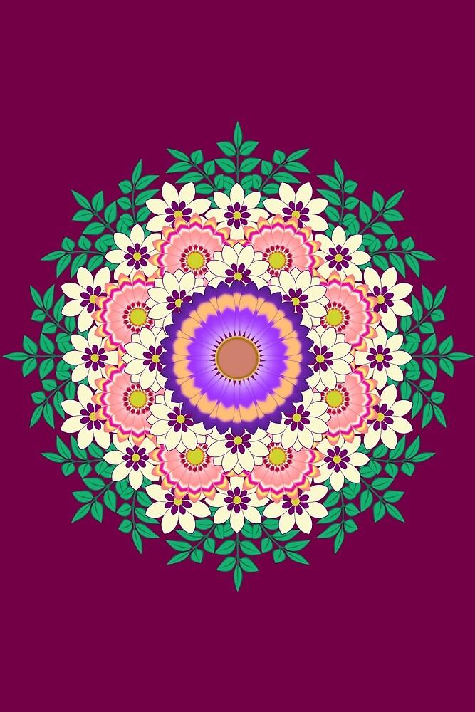 Flowers mandala by denimaheart