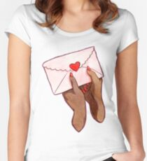 Love Love Love Watercolor Illustration Women's Fitted Scoop T-Shirt