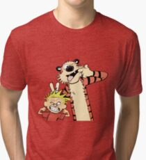 Calvin and Hobbes Making Faces Tri-blend T-Shirt