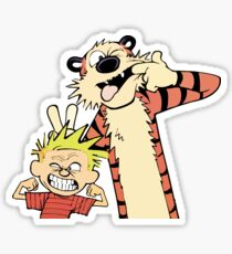 Calvin and Hobbes Making Faces Sticker