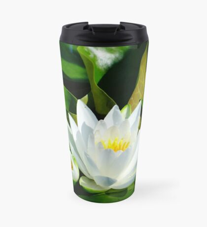 White Water Lily and Bud on Lily Pad Travel Mug