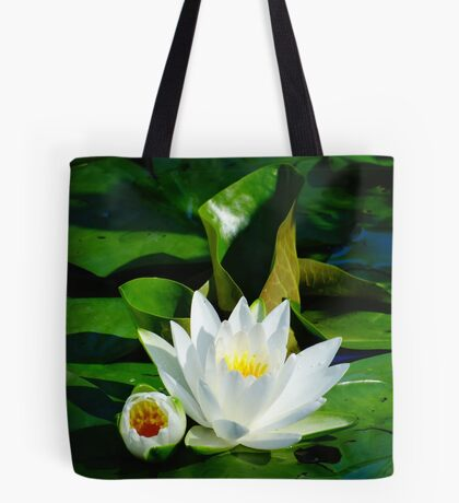 White Water Lily and Bud on Lily Pad Tote Bag