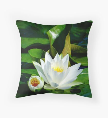 White Water Lily and Bud on Lily Pad Throw Pillow