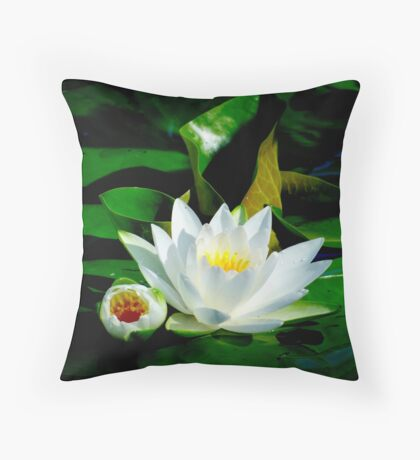 White Water Lily and Bud on Lily Pad Floor Pillow