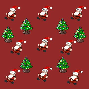 Christmass Tree and Santa Pattern  by WildShirtAttack