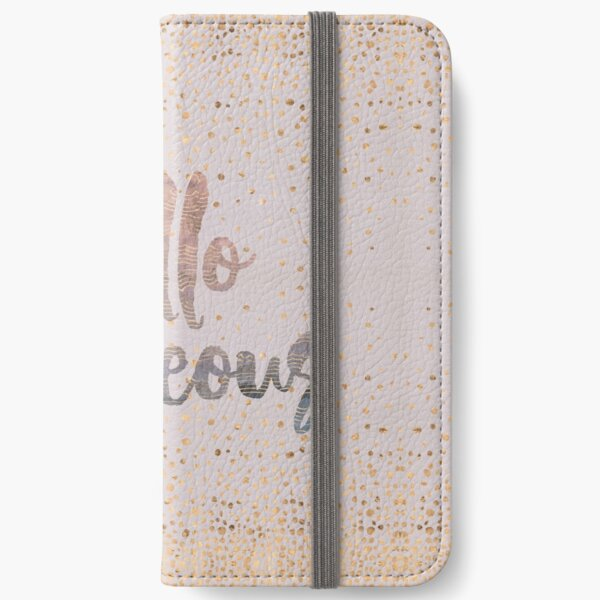 Hello Gorgeous Lilac Periwinkle Rose Gold Confetti iPhone Wallet