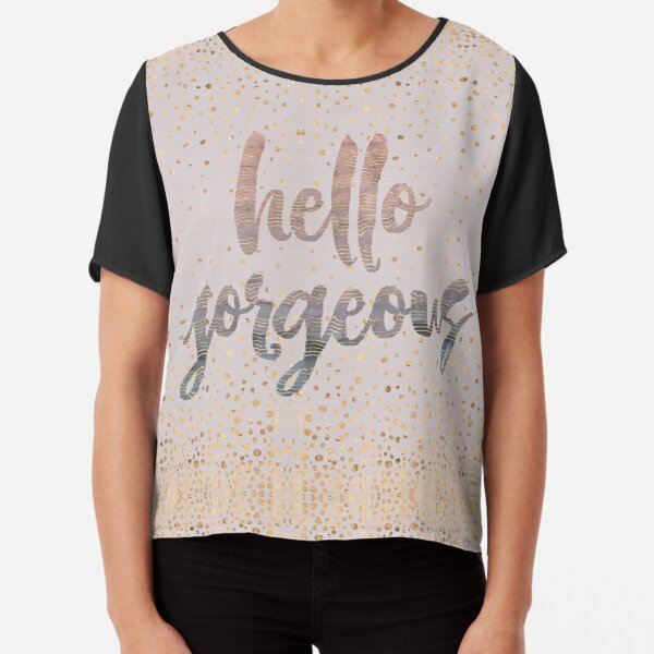 Hello Gorgeous Lilac Periwinkle Rose Gold Confetti Chiffon Top