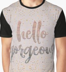 Hello Gorgeous Lilac Periwinkle Rose Gold Confetti Graphic T-Shirt