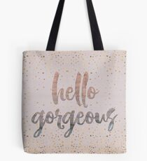 Hello Gorgeous Lilac Periwinkle Rose Gold Confetti Tote Bag