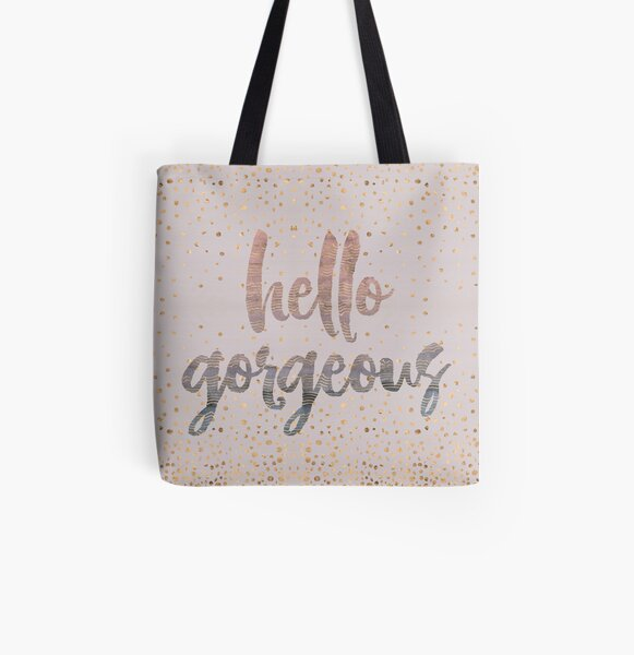 Hello Gorgeous Lilac Periwinkle Rose Gold Confetti All Over Print Tote Bag