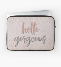 Hello Gorgeous Lilac Periwinkle Rose Gold Confetti Laptop Sleeve