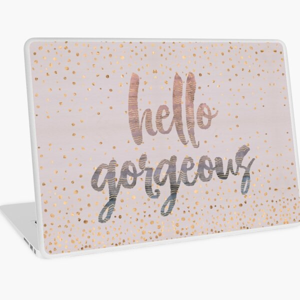 Hello Gorgeous Lilac Periwinkle Rose Gold Confetti Laptop Skin