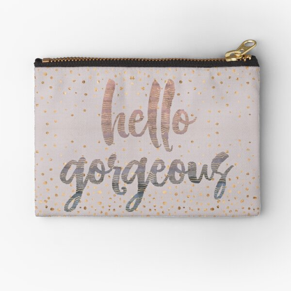 Hello Gorgeous Lilac Periwinkle Rose Gold Confetti Zipper Pouch