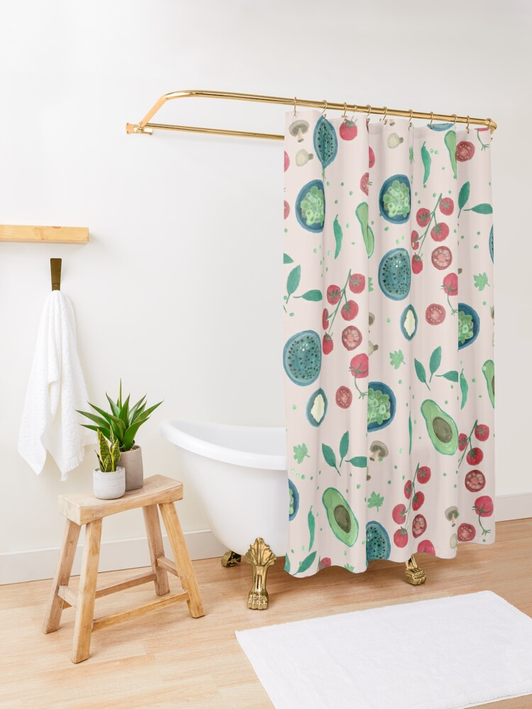 Alternate view of Italian Food Illustration in Gouache #2 Shower Curtain