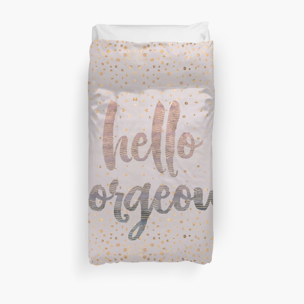 Hello Gorgeous Lilac Periwinkle Rose Gold Confetti Duvet Cover