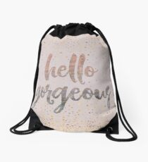 Hello Gorgeous Lilac Periwinkle Rose Gold Confetti Drawstring Bag