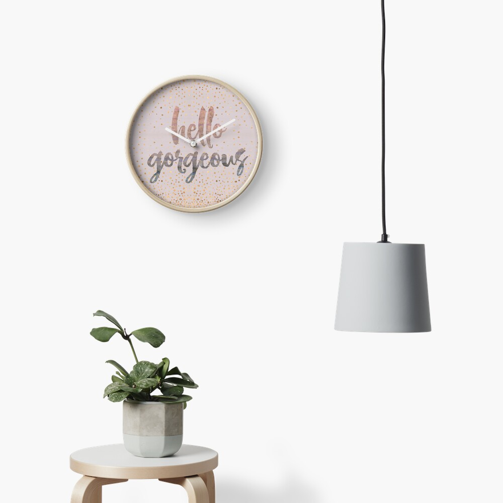 Hello Gorgeous Lilac Periwinkle Rose Gold Confetti Clock