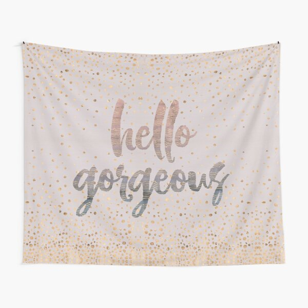 Hello Gorgeous Lilac Periwinkle Rose Gold Confetti Tapestry