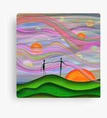 Whimsical sunset lovers Canvas Print