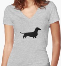 Dachshund Silhouette(s) Women's Fitted V-Neck T-Shirt