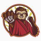 Sloth Fighter Self Defense Circle Mascot by patrimonio