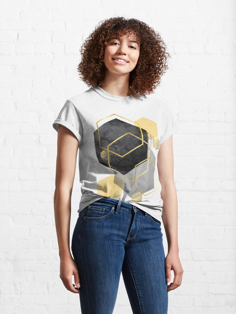 Alternate view of Black and Gold Geometric Classic T-Shirt