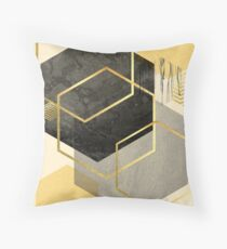 Black and Gold Geometric Throw Pillow