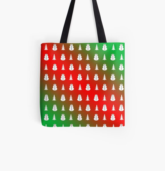 Christmas Trees and Snowmen All Over Print Tote Bag