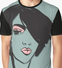 Woman in Pink Eyeshadow and Lipstick Graphic T-Shirt