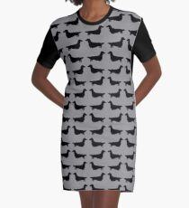 Long Haired Dachshund Silhouette Graphic T-Shirt Dress