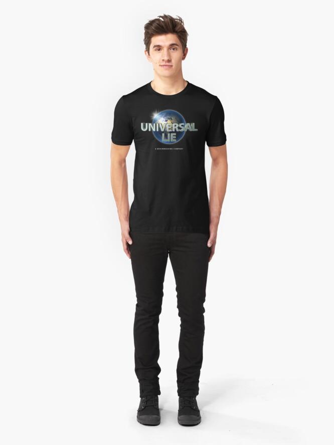 Alternate view of Flat Earth - Universal Lie Slim Fit T-Shirt