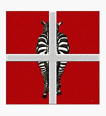 Zebra's Rear View Quarters on Red Canvas Photographic Print