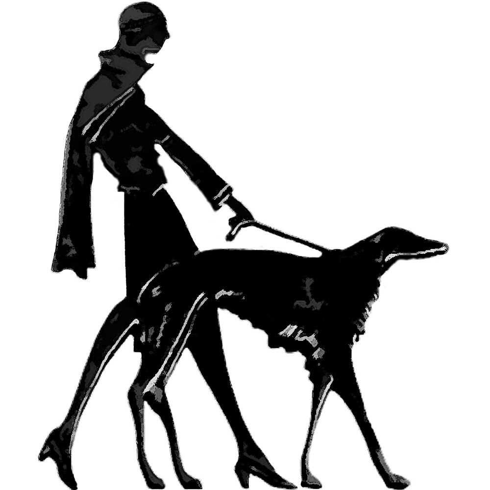 Art Deco Borzoi And Flapper by Happy Dog Swag