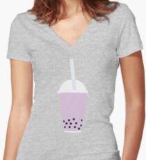 BUBBLE TEA PURPLE Women's Fitted V-Neck T-Shirt