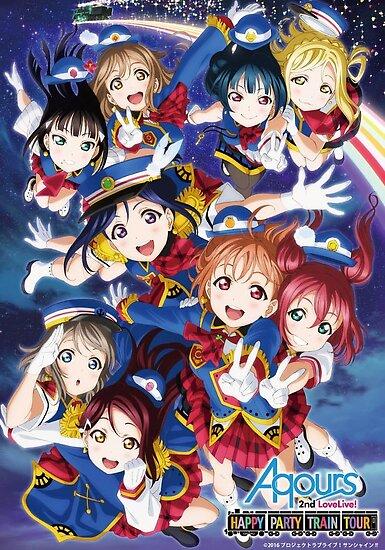Glückliches Partei-Zug-Aqours-Plakat von FlareTheVulpix