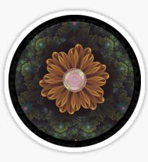 Abloom in Autumn Leaves with Faded Fractal Flowers Sticker