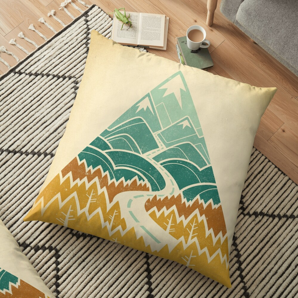 The Road Goes Ever On: Autumn Floor Pillow