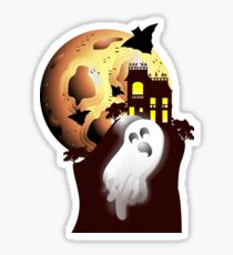 Spooky Moon, Scary Ghost, And Haunted House Sticker