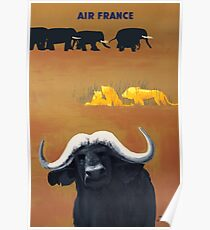 1956 Air France Africa Animals Travel Poster Poster