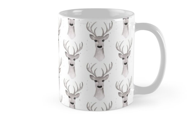Deer Soft Grey - White by makemerriness