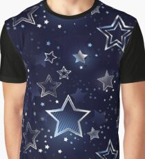 Seamless Background with Silver Stars Graphic T-Shirt