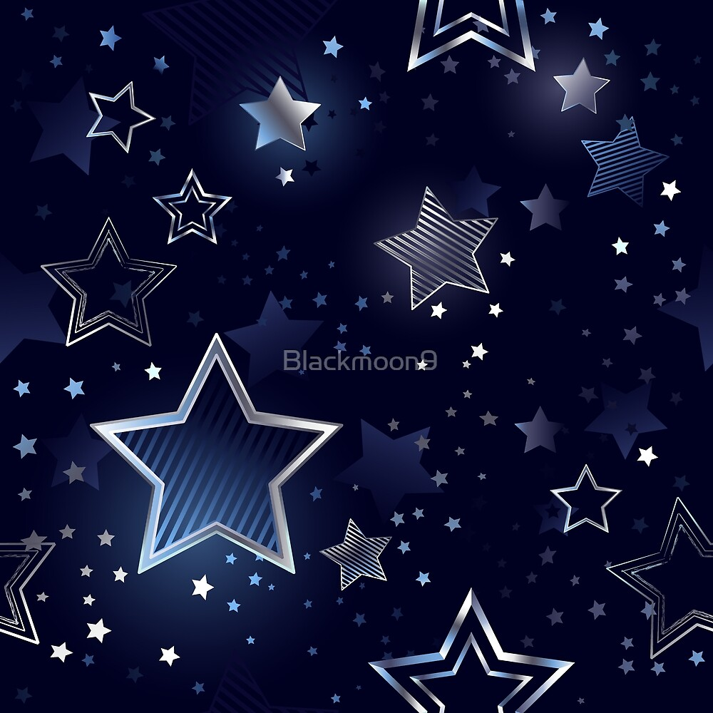 Seamless Background with Silver Stars by Blackmoon9